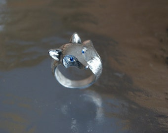 furred fox ring,  DIAMOND  EYES  silver. pick your color