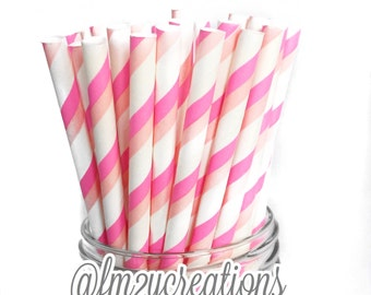 Double PINK Strie Paper Straws | Paper straws | Sweet 16 Party | Party | Pink Paper Straws | Pink Baby Shower | Pink first Birthday Party