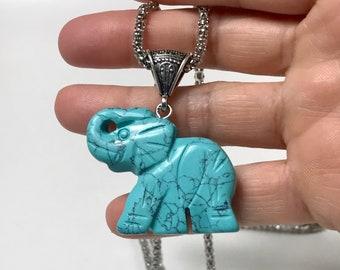 Elephant pendant, elephant necklace, gemstone elephant, beach necklace, turquoise pendant, turquoise necklace