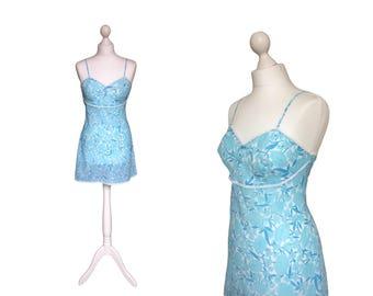 1960's Slip   St Michael Slip   Blue Floral Mini Slip   60's Under Slip   Vintage Nightwear / Lingerie