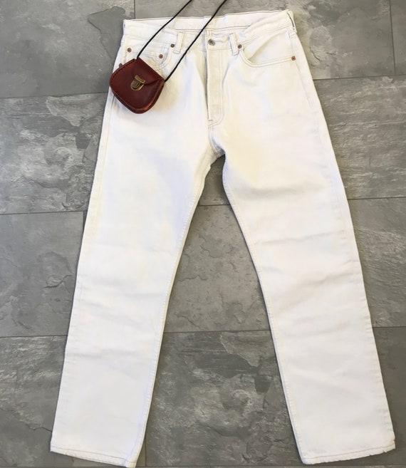 Vintage high waist white denim jeans Levis 501 jeans, size W 33 L 30