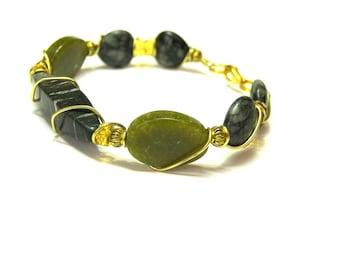 ON SALE Genuine Jade Bracelet Genuine Jade Bracelet Gold tone wire Green Jade Bead Bracelet Green Jade Bracelet, gift for her Christmas gift