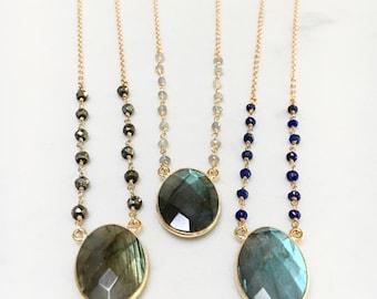 PERSEPHONE Necklace // Labradorite, Lapis Lazuli, Pyrite Necklace // Natural Gemstone Jewelry // Bohemian Style Necklace