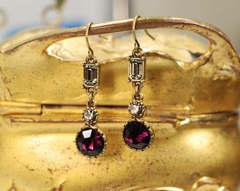 Small Dangle Earrings, Amethyst Earrings, Garnet Earrings, Tiny Earrings, Edwardian Earrings, Vintage Earrings, Edwardian Jewelry E731