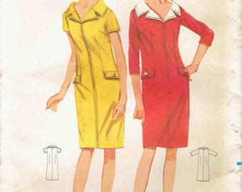 60s Mod Dress Pattern Butterick 4260. Zip Front Shift Dress, Knee Length with Wide Notched Collar & Sleeve Options. Size 14 Bust 34 inches