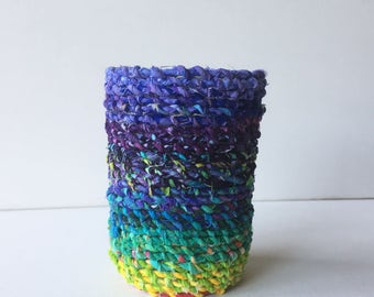 6 oz. Mason Jar & Fabric Rope Candle Holder + Flameless Candle (Purple-Multi)