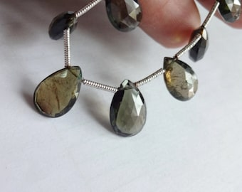 Natural AAA quality Grey Tourmaline faceted pear briolette size 8.5-13.5mm sold per 8-inch strand 100% natural