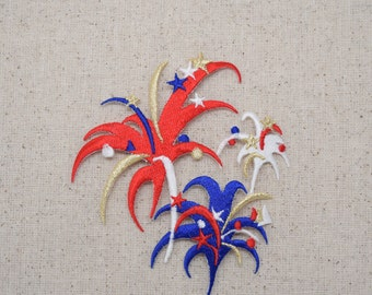 Large Fireworks - Red, White, and Blue - Iron on Applique - Embroidered Patch -  691715