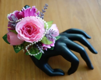Wedding Pink and purple wrist corsage