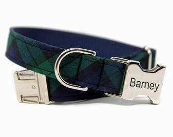 Engraved Buffalo Plaid Dog Collar, Personalized buffalo plaid, Blue and Green Check- The prepster