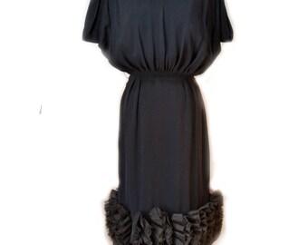 50s Black Cocktail Dress Jr Theme Wiggle Dress Bombshell