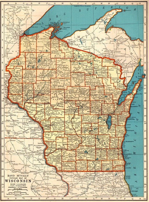 1940 antique wisconsin map vintage map of wisconsin state map gumiabroncs Images