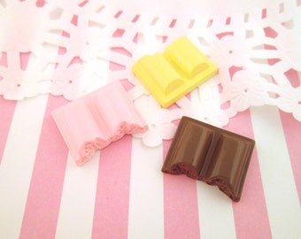 Large Bitten Chocolate Bar Cabochons, Cute Chocolate, Pink and Vanilla Candies, #248, #252, #256