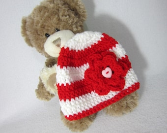 Valentine's Day Hat - Red and White Baby Cap - Flowered Beanie Cap, Photo Prop for Valentine's Day, Striped Red and White Hat by Charlene