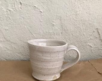 WHITE MUG, 250 ml, speckled, rustic ceramics, one of a kind