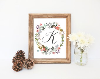 Floral Wreath Art, Letter Monogram, Baby Shower, Gift Idea, K Download, Great Gift for Her