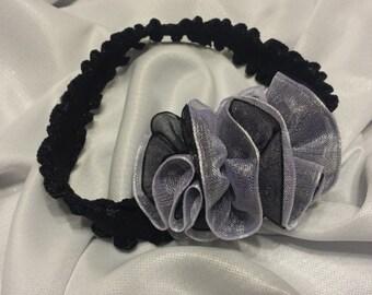 Girls Newborn Black and White Sheer Headband