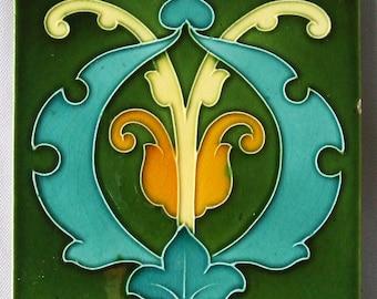 Antique English Art Nouveau Tile Arts and Crafts Green Old Ceramic