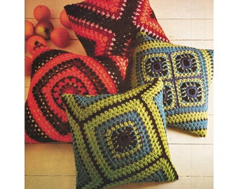 Granny Square Pillow Crochet Pattern - PDF Instant Pattern Download -   Reversible Crocheted Pillow In Variation Of Granny Square Pattern
