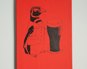 Beer Penguin 12x16 Red Canvas Wrap Print, Wall Art, Home Decor, Ireland, Bird, Pint, Illustration, Drinks, Pub, Handprinted, Clearance