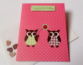 Owl Birthday Card - Handmade Greeting Card - Handmade Owl Birthday Card - Birthday Cards - Owl Greeting Card - Handmade Owl Card - Owl Cards