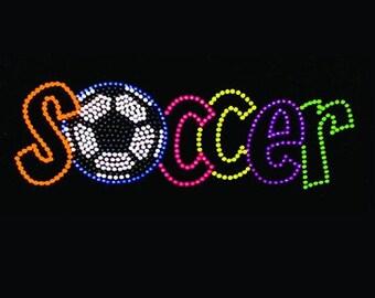 Adult soccer neon rhinestud tee a10406c