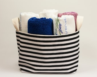 Storage bin. Fabric Storage Basket. Black and white stripped. Storage basket. Nursery storage
