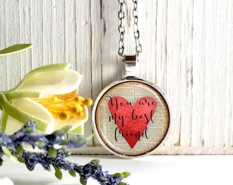 You Are My Best Friend-Red Heart On Book Page-Round Glass Bubble Pendant Necklace