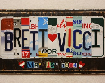 First Names with 10 Characters and Heart Wedding Date Anniversary Gift Recycled Plates Custom Made to Order License Plate Art Sign Plaque