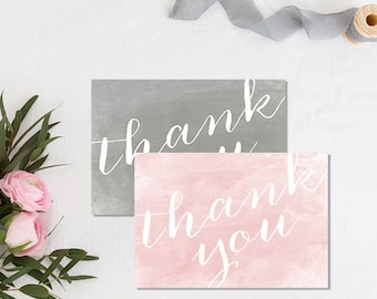 Wedding Thank You Cards, Thank You Cards for Wedding, Watercolor Notecards, Gray, Pink,