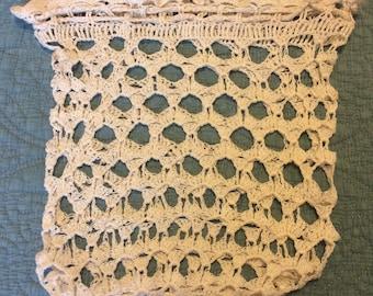 Crocheted drawstring handbag, unlined
