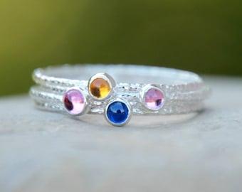 GLITTER GEMSTONE STACKING Ring - Birthstone Ring - Gemstone ring - gemstone stacking rings - birthstone stacking rings