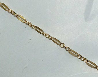 Lariat Chain By Foot, 14K Gold Fill Double Bar Chain 2mm, Dapped Chain, 1 Foot Designer Gold Filled Chains Wholesale - GC384