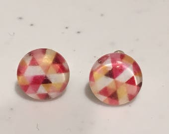 10MM Pink and Yellow Geometric Stud Earrings