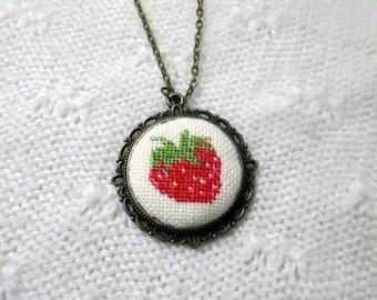 Strawberry- handmade necklace- cross stitch pendant