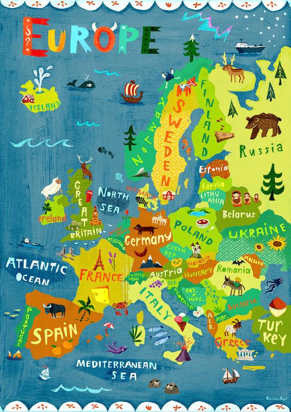 europe map illustration digital print poster kids room