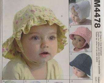 McCalls Fashion Accessories Uncut Pattern M4478 Infant Hats 2004