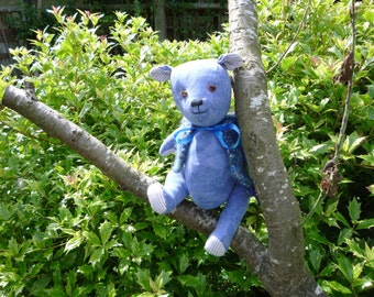 Blue - gorgeous fabric teddy bear with knitted jacket.