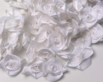 30 Offray White Satin Flowers Ready to Ship RTS