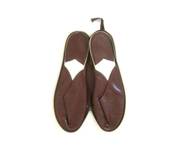 Vintage Travel Slippers Brown Slippers Zip Up Case w Slippers Vacation Resort Wear Men's Size Medium