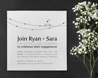 Invitation de fiançailles imprimable - amour sur un fil de fer