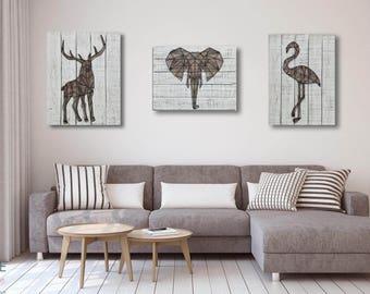 3D Metal Stag Wooden Wall Art Décor-65cm x 50cm