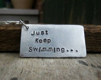 JUST KEEP SWIMMING Finding Nemo Dory Keyring Keychain Handmade Gift Gifts Cute her him Confidence Positive Thinking Personalised Free Post