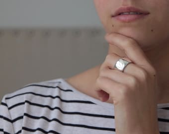 WIDE SILVER RING chunky statement in solid sterling silver jac and hugo australia