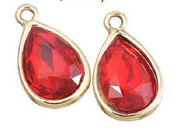 2 pendants Red Crystal 20 x 12 mm