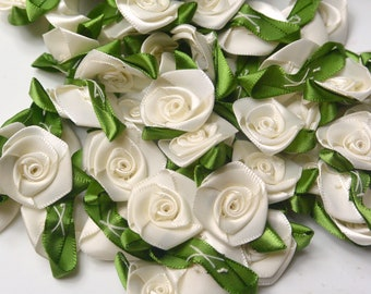 30 Offray Ivory Satin Flowers Ready to Ship RTS