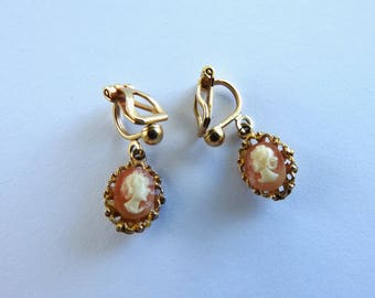 1968 Lucite Cameo Earrings
