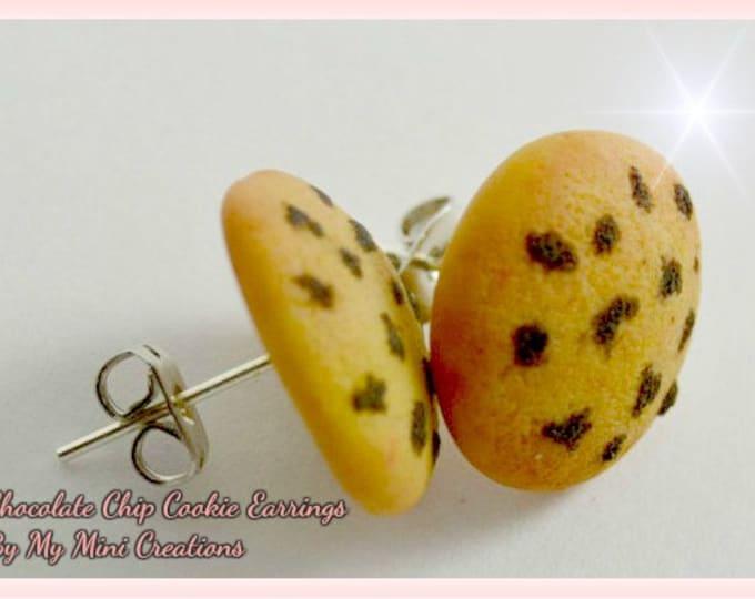 Chocolate Chip Cookie Stud Earrings, Polymer Clay, Miniature Food, Miniature Food Jewelry