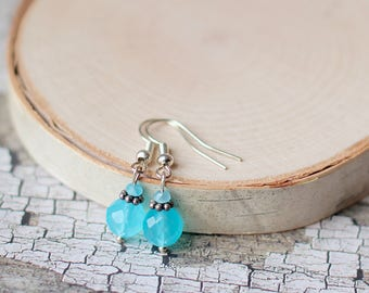 Aqua Blue Earrings, Turquoise Blue Gemstone Earrings, Pastel Blue Glass Crystal Earrings, Easter Earrings, Gifts for Mom, Mother's Day Gifts
