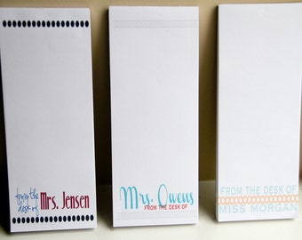 Personalized Teacher Notepads - Set of 3 - From the Desk of - Personalized  - Teacher Gifts - gifts for teachers - personalized gift